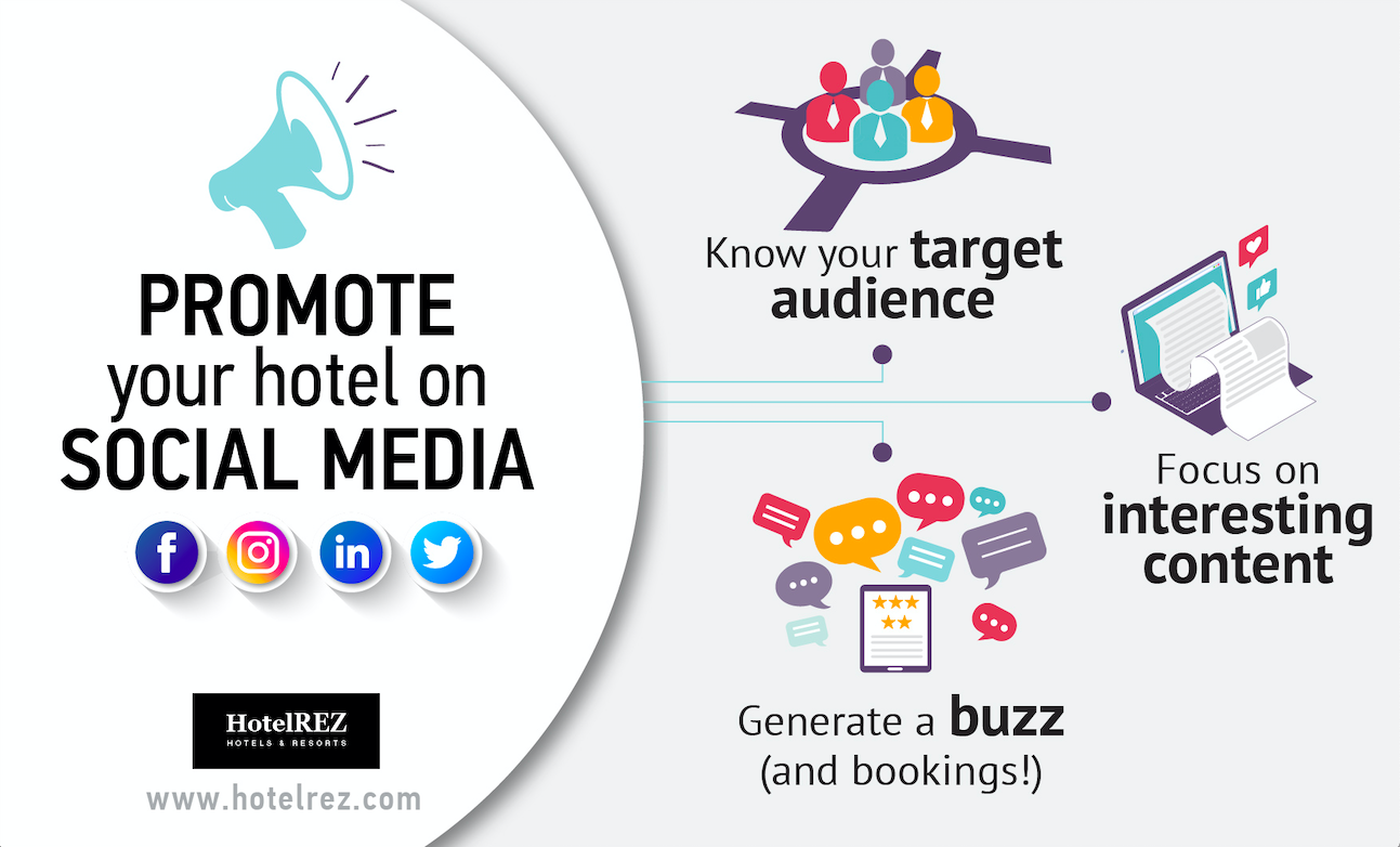 Promote your hotel on social media - infographic