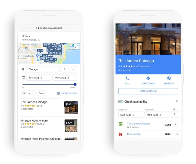 Example of Google Hotel Ads